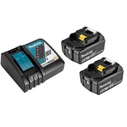 Makita Pack Énergie 18V Li-Ion 5.0Ah (2 batteries BL1850 + 1 chargeur DC18RC)