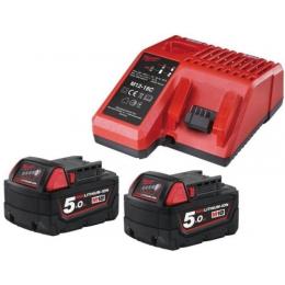 Milwaukee Pack M18NRG-502 Avec 2 Batteries 18V 5.0Ah M18B5 et Chargeur M12-18C