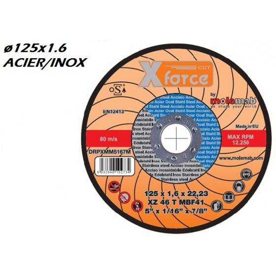 Disque à tronçonner MOLEMAB X FORCE diametre 125x1.6 plat mixte acier/inox