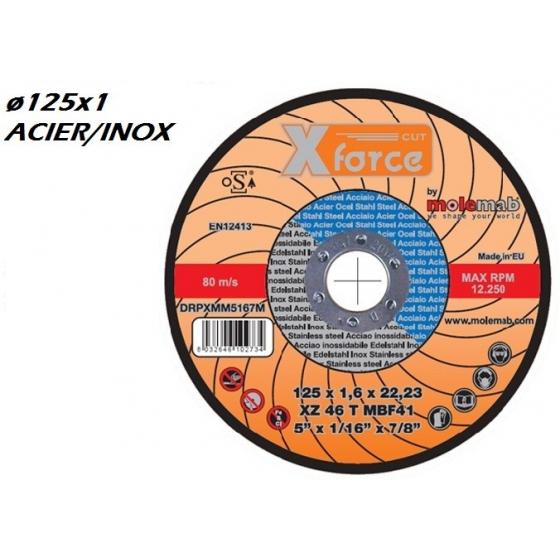 Disque à tronçonner MOLEMAB X FORCE ø 125x1 plat mixte acier/inox