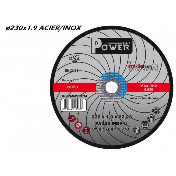 Disque à tronçonner MOLEMAB POWER ø 230x1.9 plat mixte acier/inox