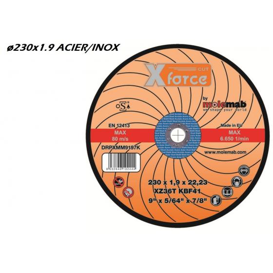 Disque à tronçonner MOLEMAB X FORCE ø230x1.9 plat mixte acier/inox