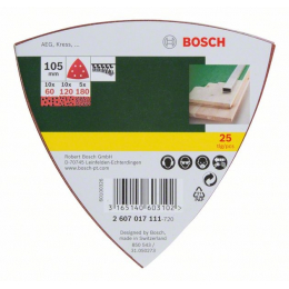 Bosch Pack de 25 Abrasifs Delta 105x105mm (2607017111)