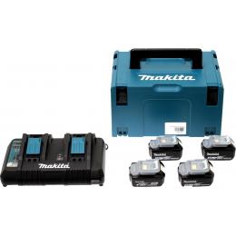 Makita Pack Énergie 18V Li-Ion 5.0Ah (4 batteries + 1 chargeur double) avec coffret MAK-PAC (197626-8)