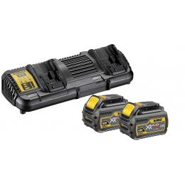 Dewalt DCB132T2-QW Pack de 2 Batteries et Chargeur Double XR Flexvolt 18V/54V 2x6.0Ah