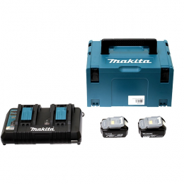 Makita Pack Énergie 18V Li-Ion 5.0Ah (2 batteries BL1850B + 1 chargeur double DC18RD) avec coffret MAK-PAC (197629-2)