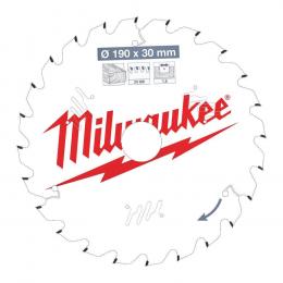 Milwaukee Lame de scie circulaire Bois Ø190x30x24Dts ATB (4932471300)