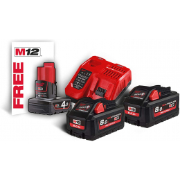 Milwaukee M18 HNRG-802 Batterie 18V 8.0Ah High Output + 1 Batterie M12B2 12V 4.0Ah Offerte (4933471073)