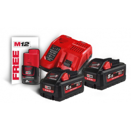 Milwaukee M18 HNRG-552 Batterie 18V 5.5Ah High Output + 1 Batterie M12B2 12V 3.0Ah Offerte (4933464713)