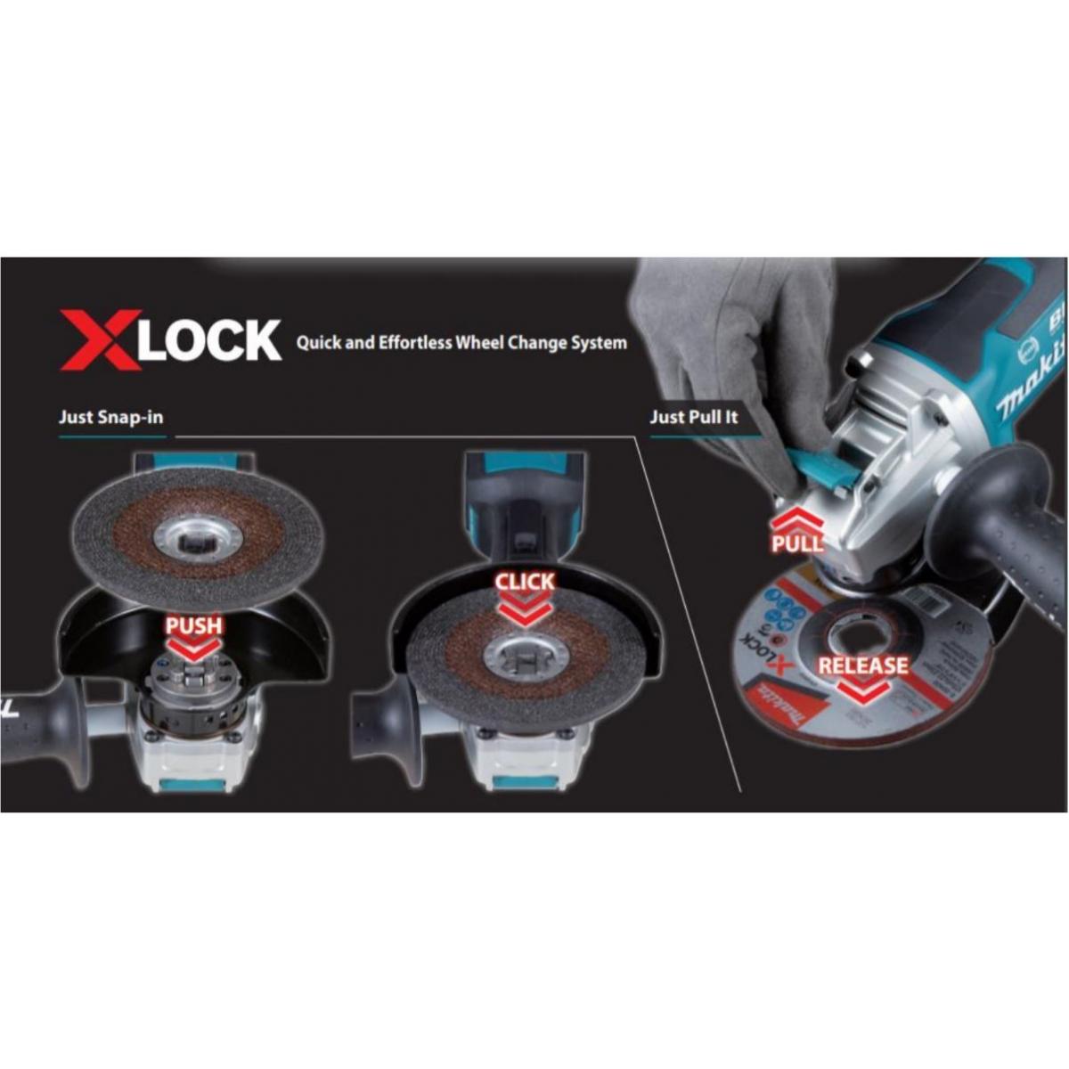 Makita DGA519Z 18 V 125 mm BL LXT X-Lock Meuleuse D/'Angle Unité Nue