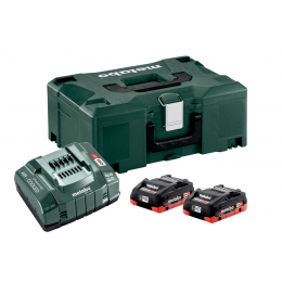 Metabo Pack de Batteries Li-ion Li-HD 18V 2x4.0Ah + Chargeur ASC145 + Coffret Metaloc (685130000)