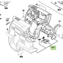 Bosch 1617000A4W Carter de moteur perforateur GBH36V-LI, GBH36VF-LI, GBH36V-LI