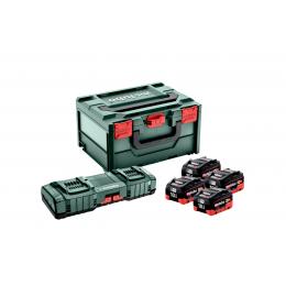 Metabo Set de 4 Batteries Li-ion 18V 10.0Ah Li-HD + Chargeur Double ASC 145 DUO + metaBOX (625549000)
