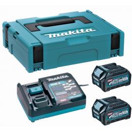 Makita Pack Énergie 40V XGT Lithium-Ion (2 batteries BL4025 + 1 chargeur) en coffret MAKPAC (191J81-6)