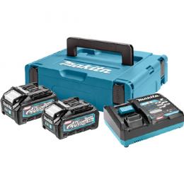 Makita Pack Énergie 40V XGT Lithium-Ion (2 batteries BL4040 + 1 chargeur) en coffret MAKPAC (191J97-1)