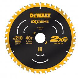 """DeWALT Lame de scie circulaire ø210x30 40 Dents """"Extrême"""" DT20433-QZ"""