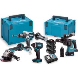 Makita DLX4104TJ1 Pack 4 Machines 18V Li-ion 3x5.0Ah DHP481+DTD153+DHR243+DGA513 en coffrets MakPac