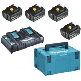 Makita Pack Énergie 18V Li-Ion 6.0Ah (4 batteries BL1860B + 1 chargeur double DC18RD) avec coffret MAK-PAC (198091-4)