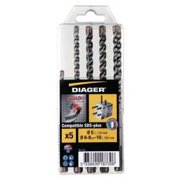 Diager Coffrets de x5 forets béton SDS-plus Booster-plus 110C