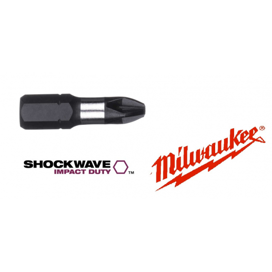 X2 Embouts PH1 - 25mm MILWAUKEE SHOCKWAVE
