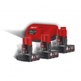 Milwaukee Pack M12 NRG-603 avec 3 Batteries M12B6 12V 6.0Ah et Chargeur C12C (4933459208)