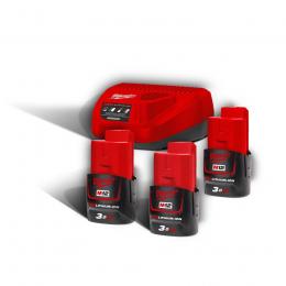 Milwaukee Pack M12 NRG-303 avec 3 Batteries M12B6 12V 3.0Ah et Chargeur C12C (4933459207)