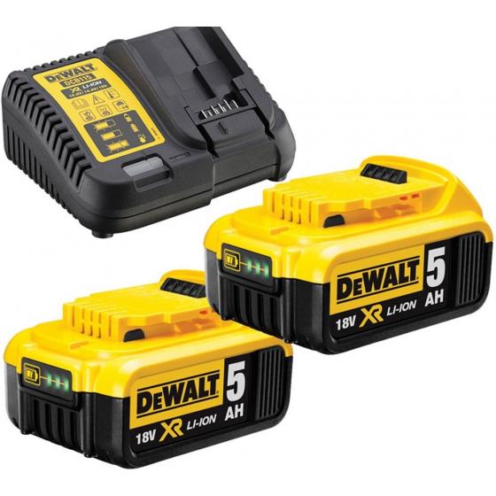 Dewalt DCB115P2 Pack de 2 Batteries 18V 5.0Ah XR Li-ion + Chargeur DCB115