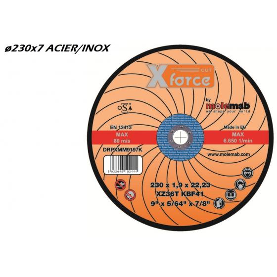 Disque à ébarber 230x7 mixte acier MOLEMAB X FORCE