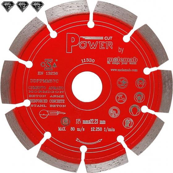 Disque diamant 125mm à tronçonner MOLEMAB POWER.